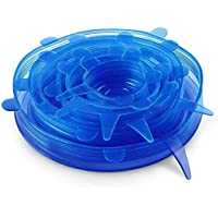 Silicone Stretch Fresh Food Storage Cover Stretch Bowl Lids 6 Pack, Blue