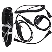 KENMAX Military Police FBI Forehead Throat Mic Microphone Covert Acoustic Tube Earpiece Headset with Finger PTT for 2-pin Kenwood TK-208 Wouxun KG-UVD1P Puxing PX-888 K PX-777 Baofeng UV-5R