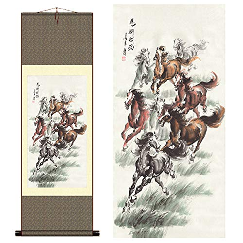 Sunmir (TM Silk Scroll Painting Eight Horse Painting Success Immediately Upon Arrival