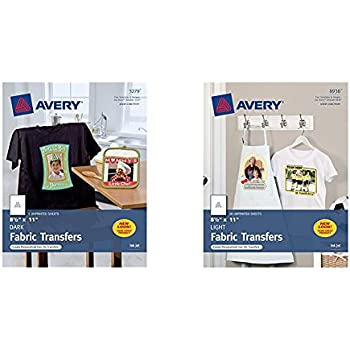 Avery InkJet Iron On Dark T Shirt Transfers White Five Sheets Per Pack 0 And For Inkjet Printers Light Colored