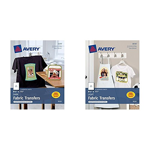 Avery InkJet Iron-On Dark T-Shirt Transfers, White, Five Sheets per Pack (0 and Avery T-shirt Transfers for Inkjet Printers for light-colored, 8.5 x 11 Inches, Pack of 18 (08938) -