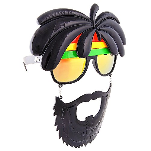 Sunstaches Rasta Sunglasses, Instant Costume, Party Favors, UV400 -