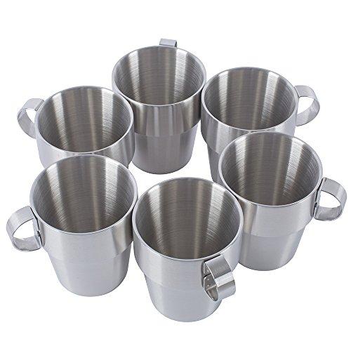 10 Ounce Stackable Mug - Coffee Cup Stainless Steel Double Wall Coffee Mugs/Tea Cups 10-Ounce with Handle,Set of 6