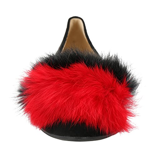 Pompom On Alexis Flat Ballet Manmade Womens Red Slip Pointy Toe Leroy YYCqpwE
