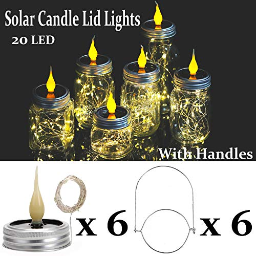 KZOBYD 6 Pack Solar Mason Jar Lights with Flame Top 10 LEDs Waterproof String Jar Lids Hanging Fairy Lid Lights for Outdoor Tabletop Porch Backyard Garden Trees(6, WarmWhite with Flame)