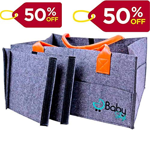 Baby Sleuth Diaper Caddy -Large Organizer Tote Bag for Infant Boy or Girl -Bebé Shower Gift Basket-Nursery Must Haves-Registry Favorite -Collapsible Newborns Caddies for Changing Table and Car Travel
