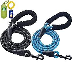 ladoogo 2 Pack 5 FT Heavy Duty Dog Leash with Comfortable...