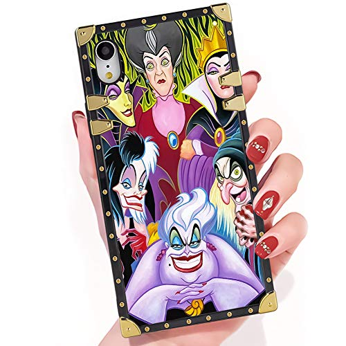 Easy Cartoon Characters For Halloween (DISNEY COLLECTION iPhone Xr Case Cartoon Characters Disney Villains Ladies Square Phone Case Cover Soft TPU 360 Degree Luxury Shockproof Protective Case Compatible for iPhone Xr 6.1)