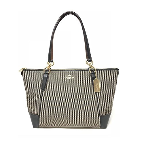 Coach Ava Zip Tote in Legacy Jacquard Milk/black
