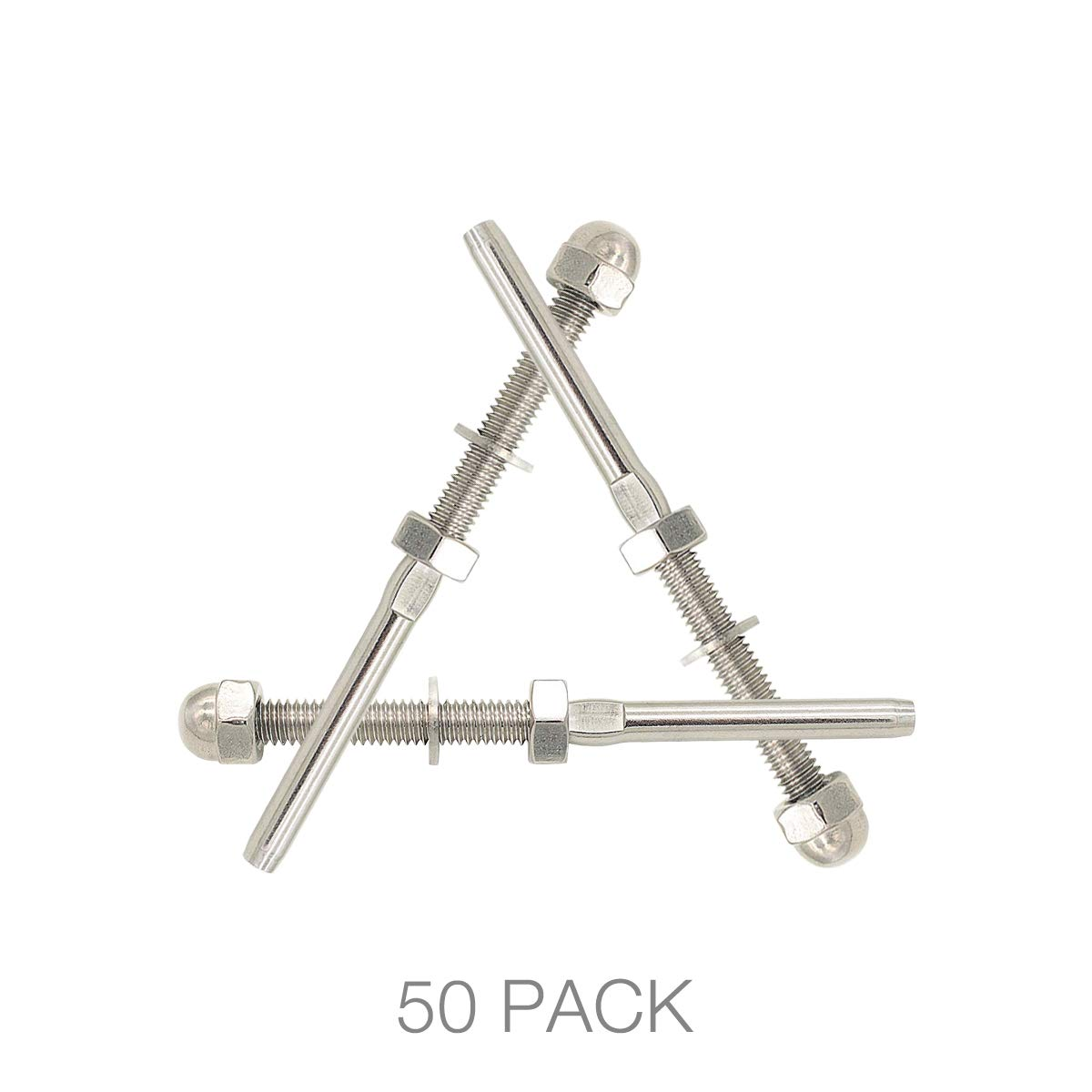Cable Railing Kit,Cable Tensioner 100 100 Pack Fayevorite Threaded Terminal Stud End Threaded Tension Stud End,Stainless Steel Hand Swage Stud for 1//8 Cable Deck Railing,Rail System