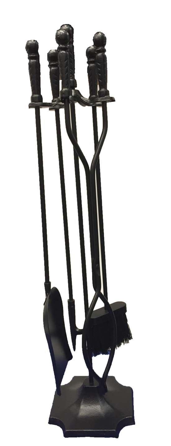 Shop4Omni Black Wrought Iron Fireplace Fire Pit Toolset - 5-piece Tool Set O-89332