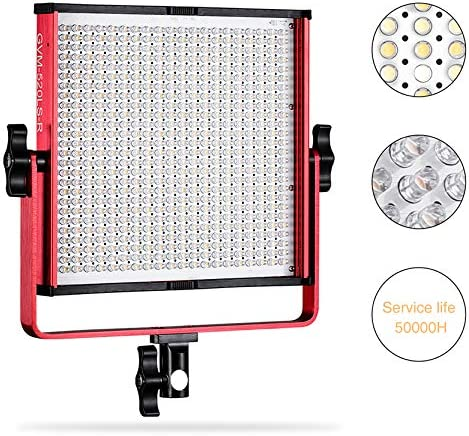 LED Video Light, GVM 520 Video Lighting Dimmable Bi-Color 3200K-5600K, CRI 97 Light Panel with Durable Video lighting Studio Interview Portrait with Light Stand Kit Red