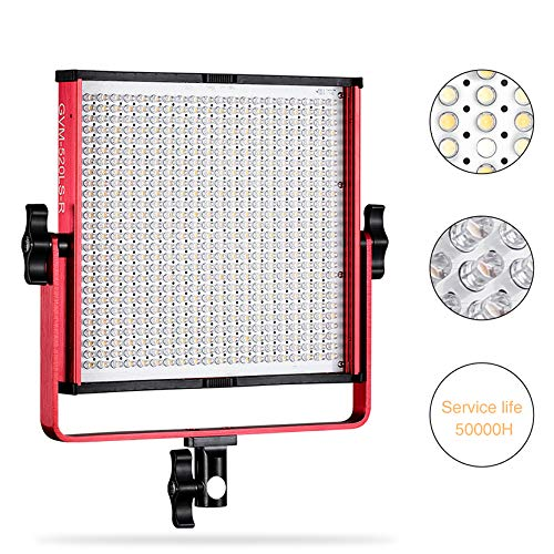 LED Video Light, GVM 520 Video Lighting Dimmable Bi-Color 3200K-5600K, CRI 97+ Light Panel with Durable Video lighting Studio Interview Portrait with Light Stand Kit (Red)