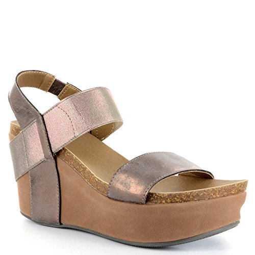 Corkys Footwear Womens Comfort Thick Leather Strap Fashion Wedge Heel Sandal (11, Brushed (Brushed Gold Footwear)
