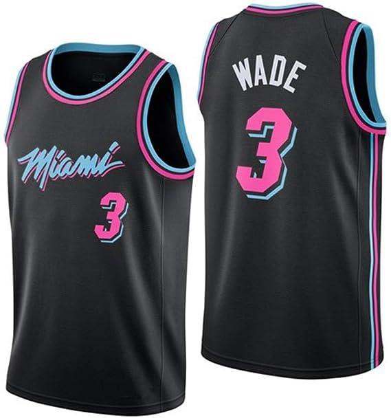 JINHAO Camiseta de Baloncesto para Hombre NBA Miami Heat # 3 Dwyane Wade Camiseta de Baloncesto Swingman de Malla (Negro5, L): Amazon.es: Ropa y accesorios