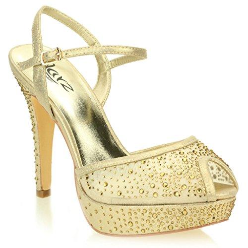 mariée De des Talon Femmes Diamante Fête Haut Sandales Chaussures Soir Or Dames Plateforme Mariage Taille 88qvFzT