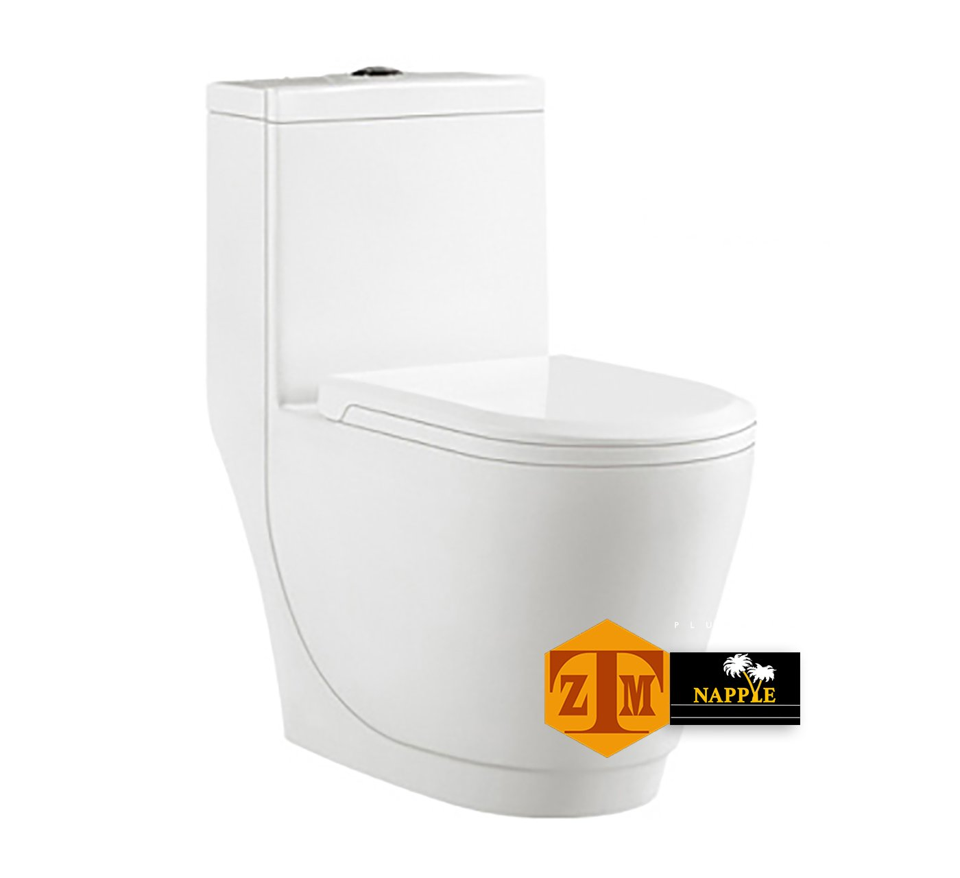 NAYT98142P Luxury SIPHONIC White Porcelain One-Piece Construction Toilet, With Round Seat and Comfort Height, A Siphonic High Efficiency Eco-Friendly Action w/ Dual Flush 1.6/1.0GPF, UPC Certified