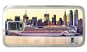 Hipster Samsung Galaxy S5 Case leather cover cruise ship new york city PC Transparent for Samsung S5