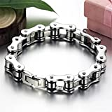 Secologo Mens Bracelet Biker Bicycle Motorcycle Chain Bracelet Bangle Punk Titanium Steel Bracelet Men Bangle