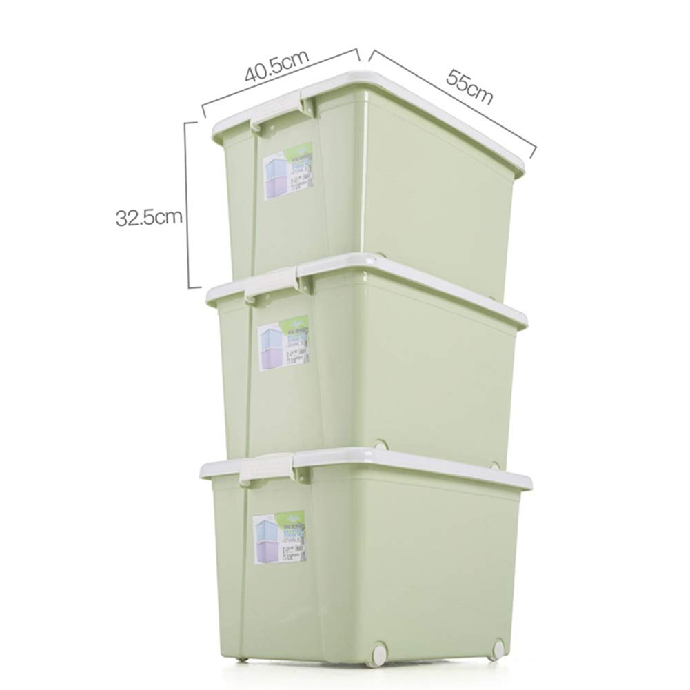 GSHWJS- Storage basket Large Plastic Storage Transparent Box Strong Stackable Container - Made in China - 3 Per Package (Color : B-Green, Size : 1)