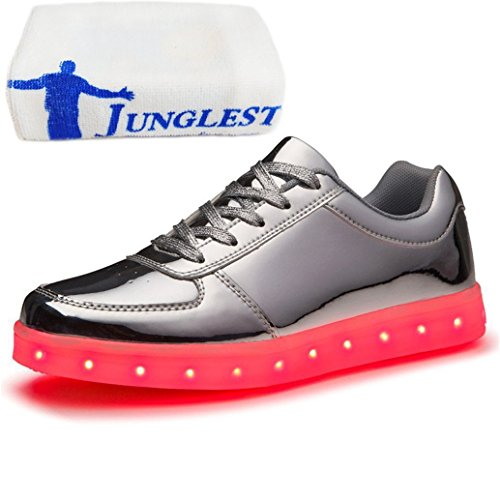 (Present:small towel)JUNGLEST® Women Men USB Charging LED Light Up Shoes Fl Silver