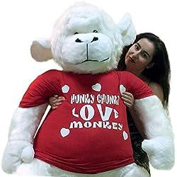 American Made 6 Foot Giant Stuffed White Gorilla Hunky Chunky Love Monkey Big Plush Valentine