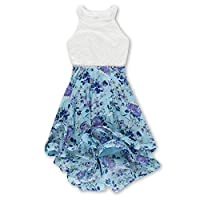 Speechless Girls' 7-16 Tween Sparkle Waist Party Dress with Wide Ribbon Hem