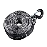 """95"""" x 3/8"""" 20000LBs Synthetic Winch Rope Line Cable for SUV ATV UTV Jeep Truck (Gray Winch with Black Hook)"""