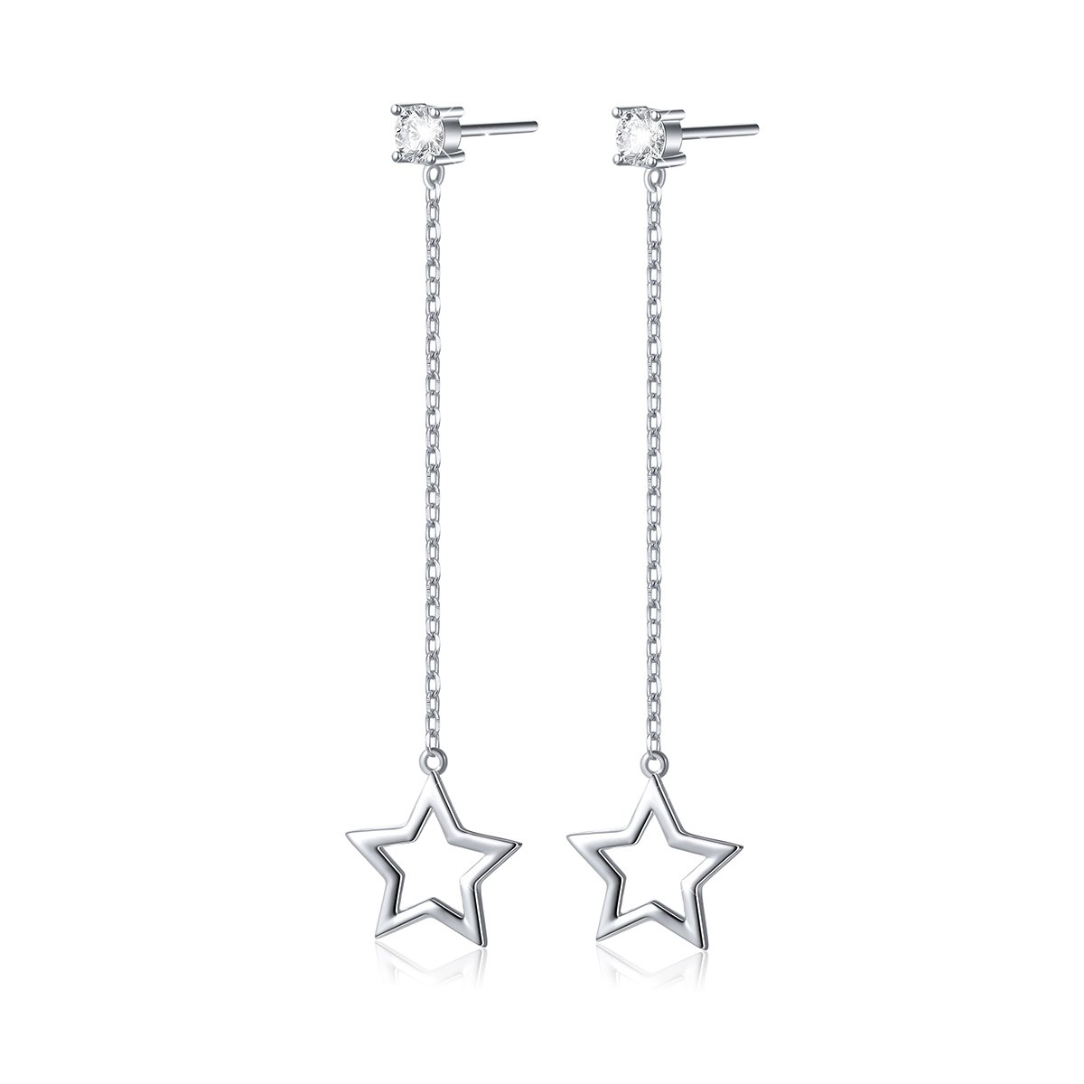 bb68a951c Amazon.com: S925 Sterling Silver Elegant Star Earrings Cubic Zirconia Dangle  Earrings: Jewelry