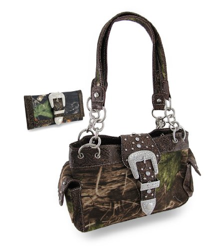- Things2die4 Nylon Womens Shoulder Handbags Camouflage Rhinestone Western Buckle Purse/Wallet Set Coffee Trim 13 X 8 X 4.5 Inches Coffee