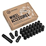 24pc Black Spline Drive Lug Nuts - 14x2 Thread Size (Coarse) - 2'' Length - Closed End - Cone Acorn Taper Seat - Includes 1 Socket Key Tool - For 6Lug Ford F150 F-150 Expedition Navigator