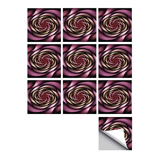 C COABALLA Spires Decor Stylish Ceramic Tile Stickers 10 Pieces,Rose Petals Curved Winds Around Fixed Center Point at Increasing Digital Decor for Kitchen Living Room,5