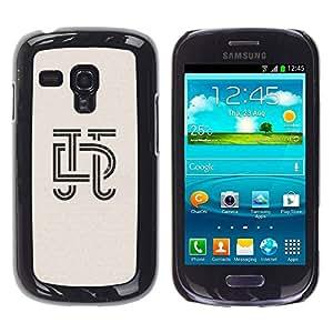TopCaseStore / la caja del caucho duro de la cubierta de protección de la piel - Letters Calligraphy Design Insignia - Samsung Galaxy S3 MINI NOT REGULAR! I8190 I8190N