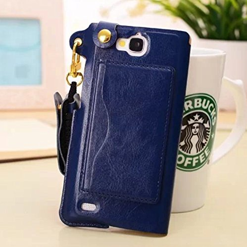 Big Mango Multi-purpose Fashion PU Leather Case Back Cover for Huawei Honor 3C with ID Card Holder & Detachable Long Neck Strap & Convertible Stand-Navy Blue