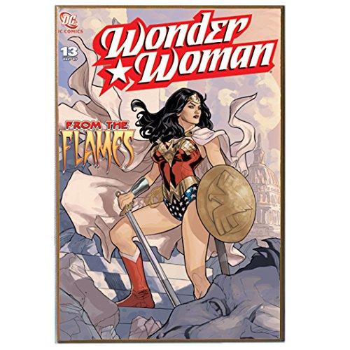 Silver Buffalo WW2736 DC Comics Wonder Woman Flames MDF Wood Wall Art, 13 x 19 inches