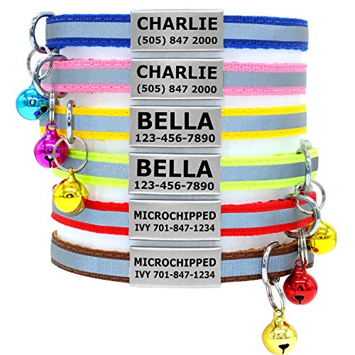 Vcalabashor Custom Cat Collars with Jingle Bell/Stainless Steel No Noise Slide-On Tags On Collar/3 Lines Personalized (Cat Reflective Id Tag)