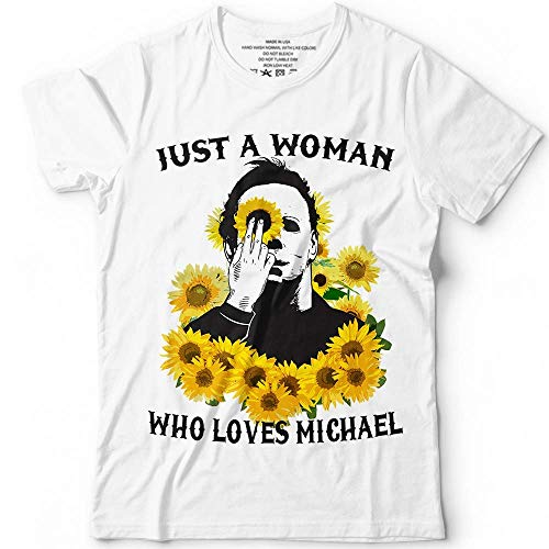 4b6ef25860a8 Just A Woman Who Loves Michael Sunflower Halloween Parody Customized  Handmade T-shirt Hoodie