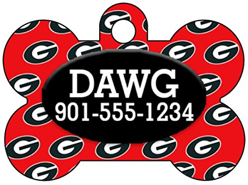 Georgia Bulldogs Pet Id Tag for Dogs & Cats Personalized w/ Name & Number - Georgia Bulldog Puppy Collar