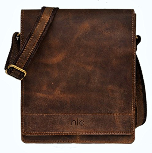 HLC Leather Messenger Satchel Laptop Bag for Men's and Women's Leather Satchel Laptop Messenger Unisex Ipad Mini Laptop Bag
