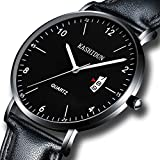 watch luminous dial - Men's Watches Analog Quartz Leather Dress Watch Sport Clock For Mens Fashion Casual Wristwatch Waterproof Calendar Date Thin&Slim Dial