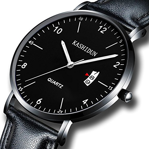 Men's Watches Analog Quartz Leather Dress Watch Sport Clock For Mens Fashion Casual Wristwatch Waterproof Calendar Date Thin&Slim Dial