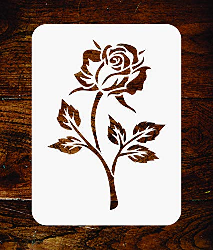 Single Rose Stencil - 6.5 x 9.5 inch - Reusable Bloom Flora Flower Wall Stencils Template - Use on Paper Projects Scrapbook Journal Walls Floors Fabric Furniture Glass Wood etc. ()
