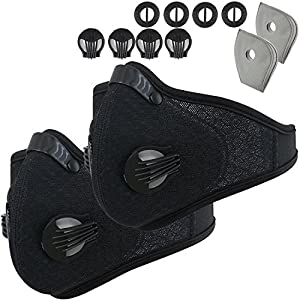 Activated Carbon Dustproof Dust Mask - with Extra Filter Cotton Sheet and Valves for Exhaust Gas, Anti Pollen Allergy, PM2.5, Running, Cycling, Outdoor Activities(Black+Black)