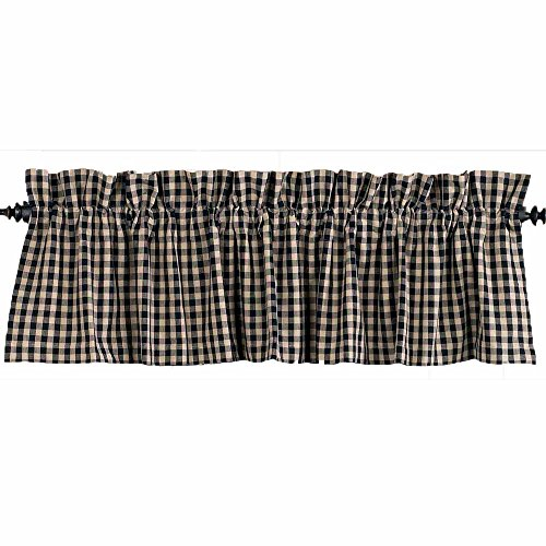 Home Collection by Raghu Heritage House Check Valance, 72 by 15.5-Inch, Black/Nutmeg