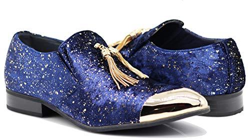 Ron Men Rhinestone Pointy Golden Toe Velvet Glitter Tassels Dress Loafer Slip On Fashion Shoes (11 D(M) US, Navy ()