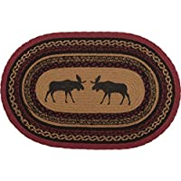 VHC Brands 37868 Rustic & Lodge Flooring-Cumberland Tan Oval Jute Rug, 18 x 26, Black