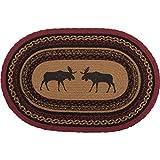 VHC Brands 37868 Rustic & Lodge Flooring-Cumberland Tan Oval Jute Rug, 20 x 30, Moose