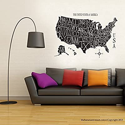 USA Map Wall Decal Stickers Modern Easy Stickers Vinyl Decal