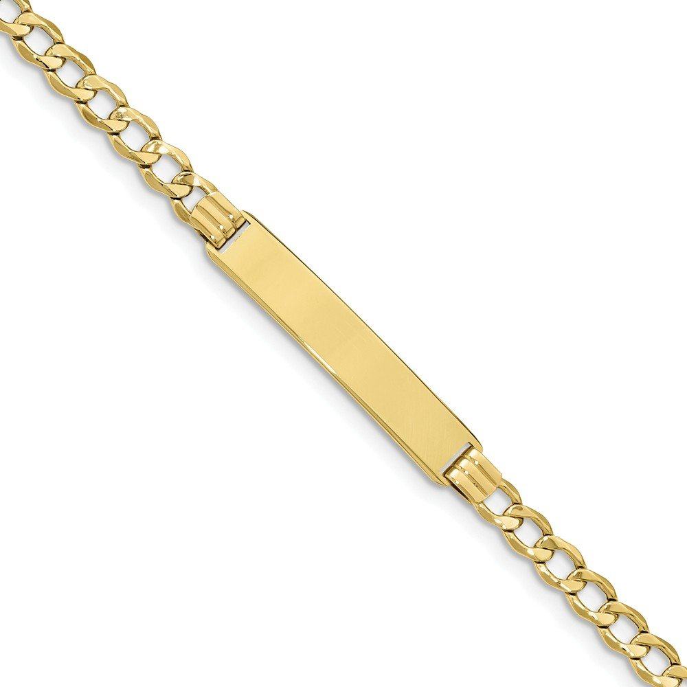 10k Yellow Gold Semi-solid Cuban Curb Link ID Bracelet 7'' - with Secure Lobster Lock Clasp (7.3mm)