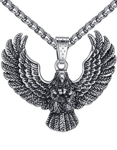Men's Stainless Steel Large Eagle Biker Pendant Necklace, 24